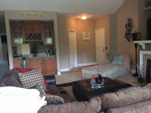 The great room and wet bar with granite counter tops.