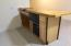 Butcher block top, with sink, refrigerator, microwave