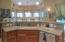 Large Kitchen Island with curved bar area