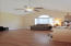 Vaulted ceilings in this large guest bedroom/office