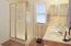 spacious walk-in shower