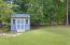 Convenient storage shed for all the equipment or toys you don't want to store in the garage