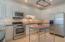Kitchen, gas cooktop, premium stainless appliances
