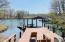 Covered Boat House with Lift and Hoist, floating dock and jet ski lift
