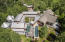 Aerial showing roof deck with spa and pool
