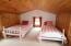 Bedroom upstairs in guest cabin