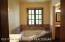 Master bedroom bath: Jetted tub/separate slate shower, two vanity areas & closet