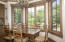 Casual dining and breakfast table with pond views
