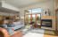 Open floor plan, gas fireplace, concrete floors with radiant heat.