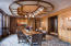 Formal Dining Room with Rounded Coffered Ceiling and Hand Carved Plaster Inlays