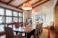 The dining room is open to the great room, but can also be an intimate setting. Go to www.peaceofsunvalley.com