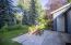 Back patio, beautiful landscaping