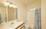 Second bathroom, new linoleum flooring