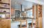 Built-in bookshelves and storage, eating bar