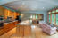 Beautiful kitchen, wood floors, cherry cabinets, tons of storage, new LED lighting.