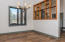 Separate dining area with high ceilings