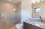 Walk in shower, granite vanity