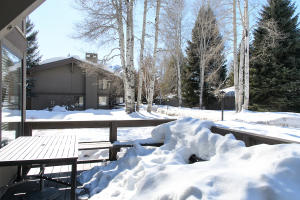 1252 Villager with Baldy Views & enlarged deck. Situated next to the pond and stream in the summer.