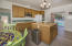Kitchen with French Doors opening to pool area