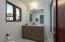 3rd Bath w/ Carrara countertop/White Oak vanity & white matte-handmade clay subway tiles in bath/shower