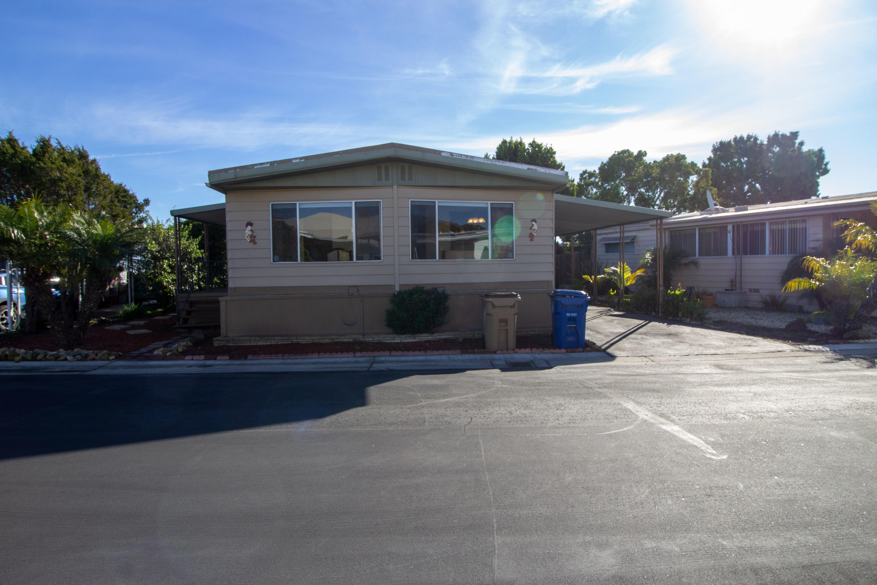 Mobile home in Resident owned Rancho Goleta Community Park; Newly Painted, New Refrigerator, New Washer/Dryer; Bright and clean this double wide 2 bedroom, and Den with 2 baths is in all ages park, It also has a nice size deck on the side to enjoy the morning sunshine. Low maintenance front and backyard includes fig and lemon trees. Walk-in heated bathtub/spa in master bathroom. Close to Bike path, UCSB, Goleta Beach, Shopping, Restaurants, Hospital and many more. Park  amenities include: Pool; Spa; Clubhouse; Gym; Lake; RV storage; and Greenbelt.