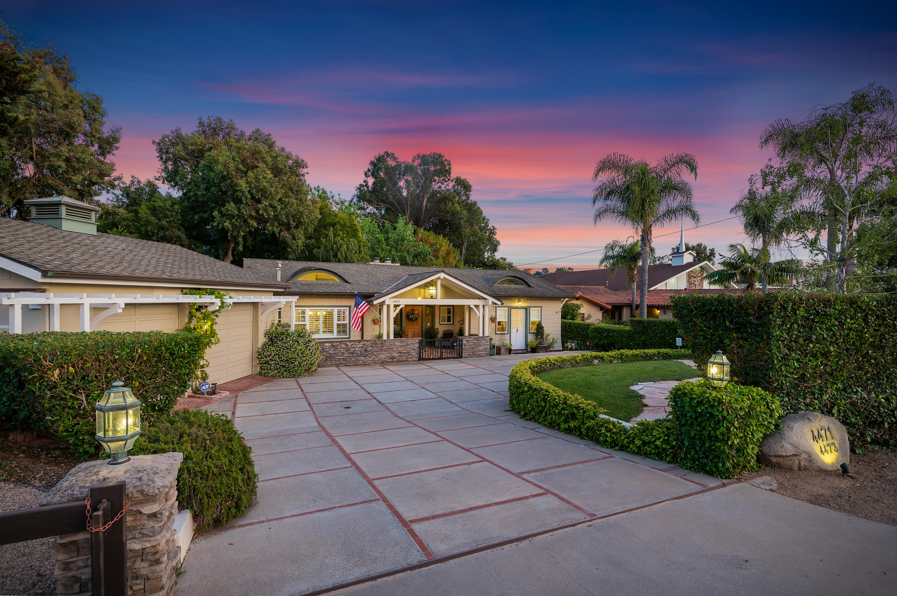Stunning country French mini-estate, 4 bd 3 ba, appx 2700SF plus 1 bd 1 ba, guest house, appx 600SF in a park-like setting.  The living rm w vaulted ceilings, wood floors & striking fireplace is flanked by French doors & looks out onto expansive lawn, brick patios, fruit trees, fireplace & fountains. A gourmet kitchen, w large island, dinette, pantry & counter seating is the heart of this amazing home plus formal dining, sep laundry rm, attached 2 car garage, workshop & office.  Main en suite & 2 bdrms, one w a reading loft & the other a private entrance, enhance flexibility of multi living. Downstairs is an elegant 3 rm suite, with separate bdrm & bath. The guesthouse is perfect for friends, in-laws or office has sep laundry & patio. Located in the renowned Vieja Valley Elementary School~ A California Distinguished School w La Colina Junior High &  San Marcos High School in close proximity.    This is a neighborhood where folks meet at the local coffee shop, parents and grandparents see their kidos off to school, little league is played nearby, horses still walk down the path and you can dance at the local tavern across the street.   Hope Ranch Annex is minutes from the bike path, horse trails, ocean bluffs and the beaches plus it's only 10 minutes from downtown Santa Barbara or the airport.    Seize the opportunity to own this piece of Santa Barbara; an elegant, beautifully designed home with multiple rental possibilities and flexible living.