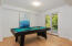 Downstairs versatile space for game room or office space