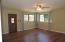 Master bedroom off of living room/dining room