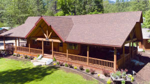 Drone view of Log Home