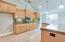 Spacious kitchen with granite tiles