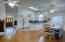 high ceilings/open floor plan