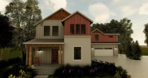 Morning view 3D rendering showing optional Study/Den and Larger Master Suite elevation.