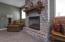 Gas fireplace on basement level