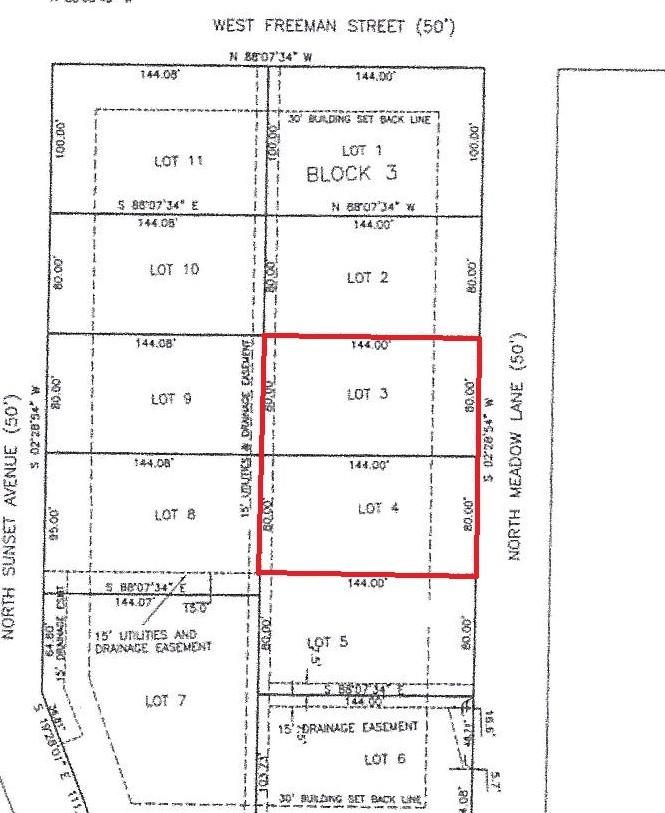 Lots 3 & 4 Block 3 Russell Subdivision