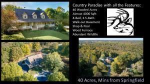 Come and see this beautiful home that is situated on 40-acres of timbered land just 5 mins north of Interstate 44 and Kansas Expressway. Borders Ritter Springs park land and offers abundant wildlife! Paradise right next to all that Springfield has to offer. Home is a 4-bedroom, 3.5 bath house that is around 4000 sqft with it mostly finished walk-out basement. It has a large in ground salt water pool! 23x44' shop building, outdoor wood furnace that heats the home, hot water, and could even heat the pool! Come and see this rare 40-acre property today!