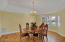 Dining Room with Tray Ceiling - Bay Windows Plantation Shutters
