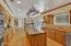 Granite Countertops, Marble Backsplash, SS Appliances- Custom Metal Pot Rack