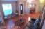 Open floor plan with high ceilings.