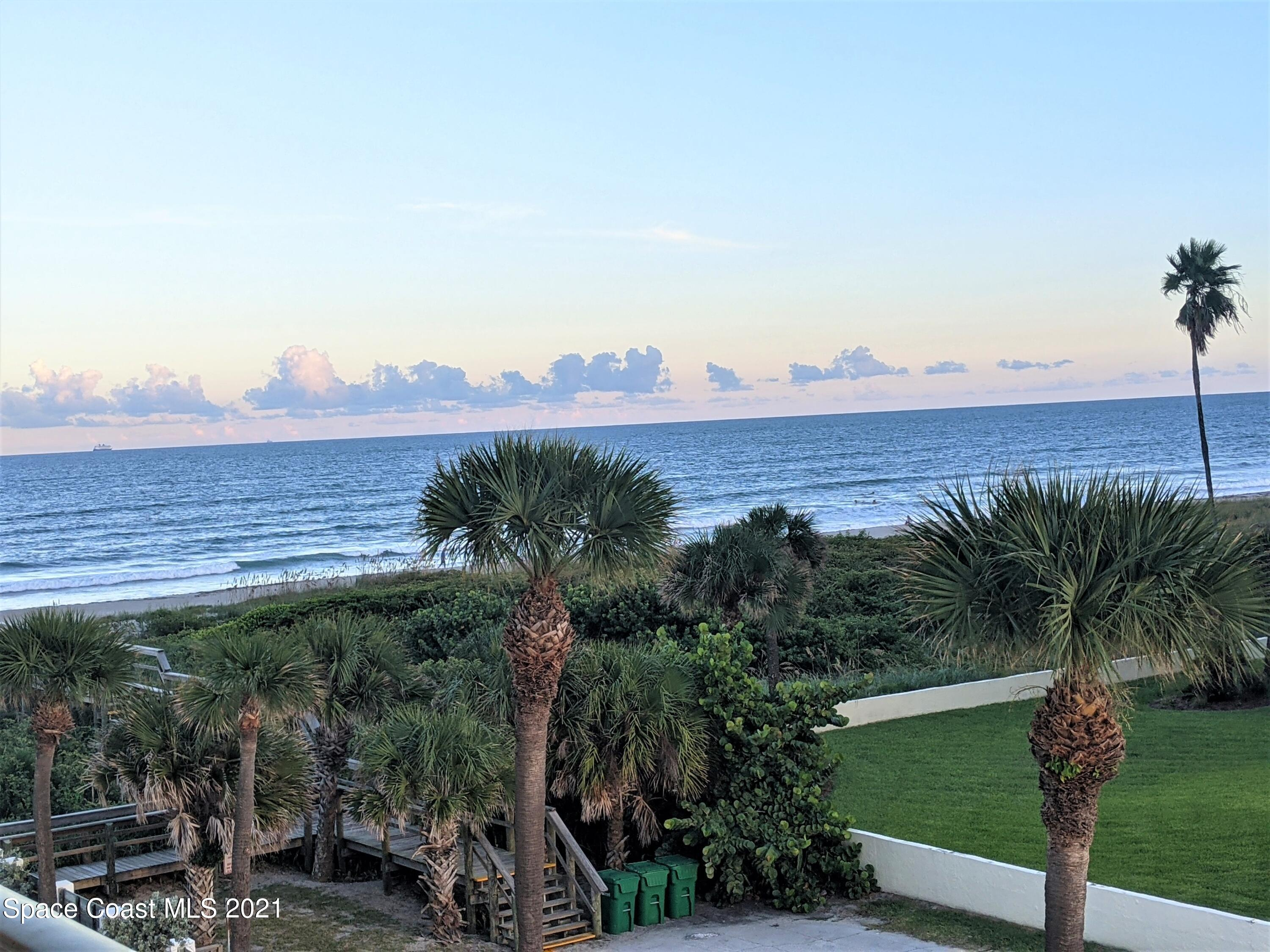 1236 sf 4th floor condo with gorgeous south/east view of the ocean. Unit has two master bedrooms with a large open great room and balcony off living room and front bedroom. Come and enjoy the beautiful heated pool, community pool area with grill and rec room before heading to the beach through the private landscaped beach gate. Great location to sit back and enjoy sunrises and sunsets on your private balcony after spending the day in Cocoa Beach.