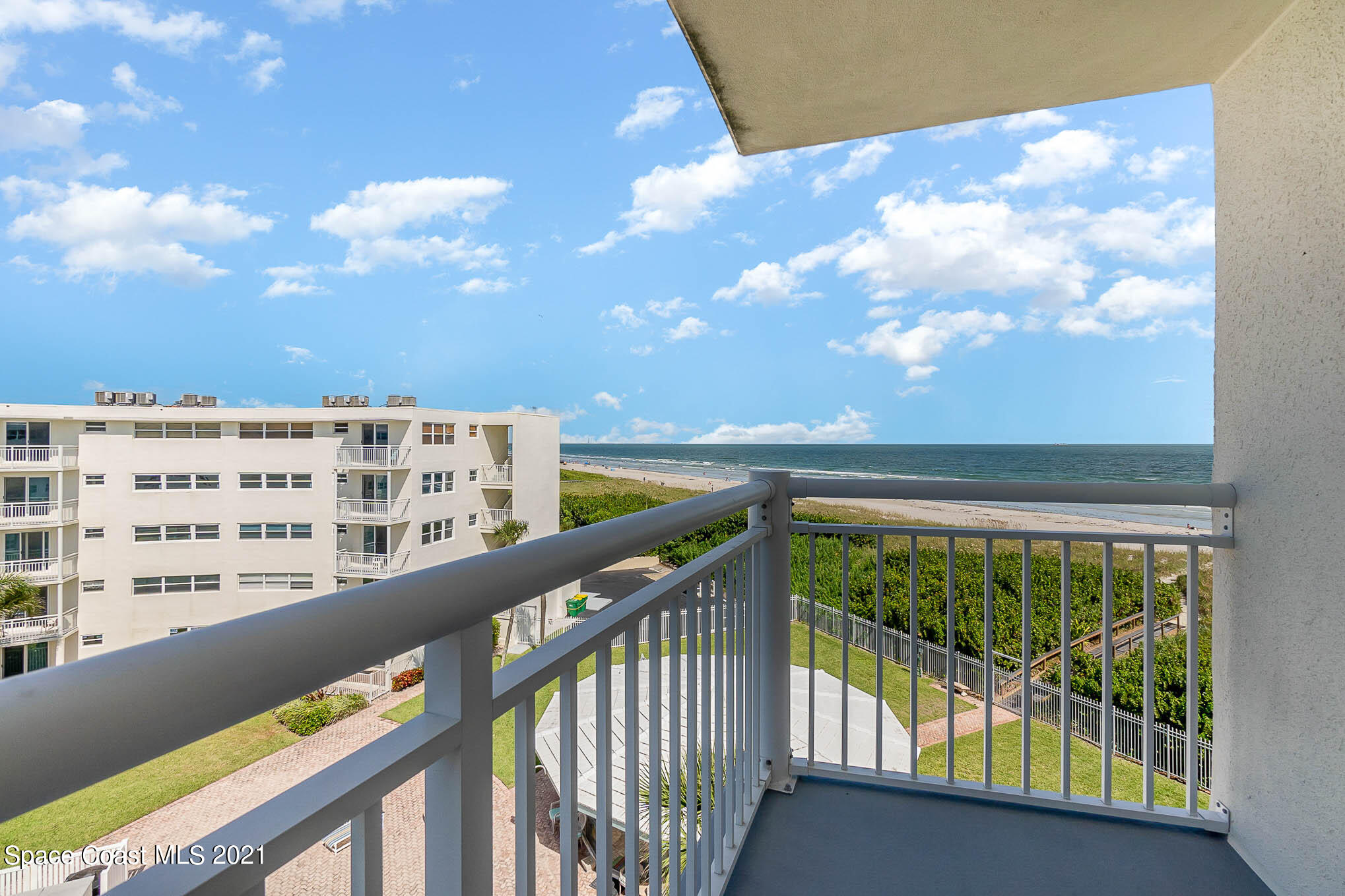 Truly unique, savor the ocean views from every window of this TOP FLOOR, SOUTHEAST CORNER unit. Abundant natural light flows throughout the perfectly proportioned open living area to your balcony that overlooks the beach & community pool. You will love the size of the primary and guest suites plus all the closet and storage space. With its relaxing, easy-care living everyday at the Crossway will feel like vacation, enjoy the heated pool year round, private beach access, lush landscaping, and BBQ area. All new doors and PGT impact windows are being installed by the association and any assessments have been paid. The location can't be beat, right in the heart of Cocoa Beach, you are walking distance to everything, shopping, grocery store, restaurants, and entertainment.