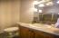 Guest Bath with Custom Tile Vanity and Slate Floors.