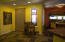 Slate Floors, Stained Glass Window Coverings, Breakfast Nook Or Bar.