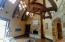 Huge barrel vaulted timbered ceilings in the main level family room