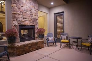 2 sided fireplace on private patio