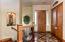 Inlaid rare imported hardwoods & tile custom entry