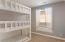 Bedroom 1 upstairs- built in triple bunk with lighting
