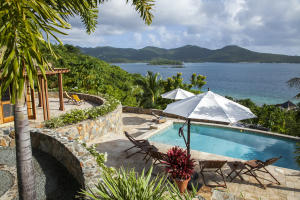 Panoramic views across Pillsbury Sound to vast expanses of protected parklands on St John just ten minutes to Cruz Bay.