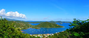 Breathtaking views from Coral Bay across the British Virgin Islands to Virgin Gorda