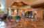 Sedona Red Travertine in foyer with beautiful recessed ceiling!