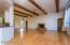 Decorative wood-beamed ceilings in Great Room